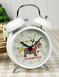 "Kids' Cartoon 4""Dial Twin Bell Mute Alarm Clock White Clock Pony Club Camp Dial for Children's Gift Original Design"