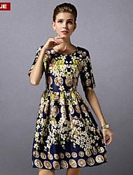 suyue® vestido de la moda clásica de la impresión delgada de la vendimia de las nuevas mujeres de la moda