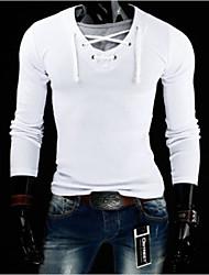 T-Shirts ( Mistura de Algodão ) MEN - Casual Decote em V - Manga Comprida