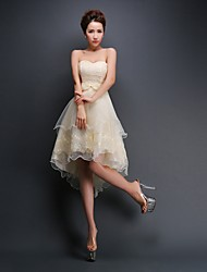Knee-length Chiffon Bridesmaid Dress - A-line Strapless with Appliques / Lace