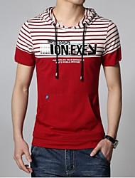 Men's Fashion Casual Striped Short Sleeve Hoodie T-Shirts