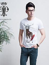 YINHUAWANGZI®Men's Printing Exempt Iron Tees Elastic/Casual/Slim/Round-neck Short Sleeves Tees