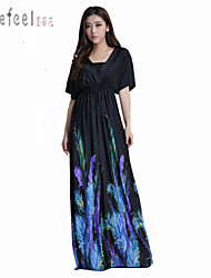 Morefeel®Women's V Neck Feather Print Soft Maxi Oversize Dress