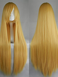 Hot Sale 40 Inches High Temperature Fiber Long Straight Gold Yellow Cosplay Costume Wig Side Bang