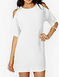 Kaman Women's Casual Round Short Sleeve Dresses (Chiffon)