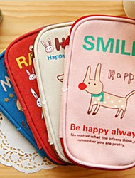 Cute Animal Canvas Pencil Bag (Random Color)