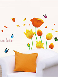 Wall Stickers Wall Decals,Butterflies and Flowers PVC Wall Stickers