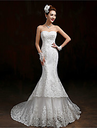 Trumpet / Mermaid Wedding Dress Sweep / Brush Train Sweetheart Lace / Tulle with Appliques / Sequin