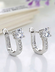 Woman's Party/Casual Silver Plated/Diamond Hoop Earrings(1pair)