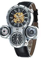 модные мужские двойные часовых поясов набора Кожаный ремешок на автоматические механические водонепроницаемые часы (разных цветов)