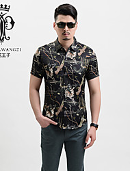 YINHUAWANGZI®Men's Shirts Exempt Iron/Casual/Printing/Plus Sizes Short Sleeves Shirts (70% Cotton and 30% Silk)