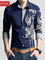 Men's Print Casual / Work / Formal / Sport / Plus Sizes Shirt,Cotton / Polyester Long Sleeve Black / Blue / Purple / Red / White