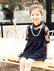 Girl's Summer Micro-elastic Thin ½ Length Sleeve Dresses (Lace)