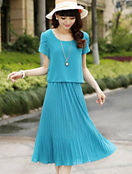 Women's Round Collar Short Sleeves Pleated Long Dress