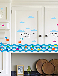 Wall Stickers Wall Decals, Style Spray Fish PVC Wall Stickers