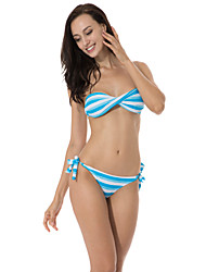 RELLECIGA Kaleidoscope Collection – Blue & White Stripe Twist Bandeau Top with Removable Halter Strap