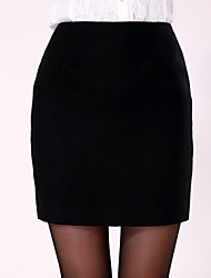 Women's Casual/Work/Plus Sizes Micro-elastic Medium Skirts (Cotton)