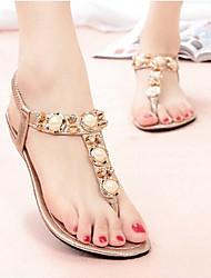 Women's Shoes Rhinestone Low Heel Comfort/Open Toe Beach Sandals Casual Silver/Gold