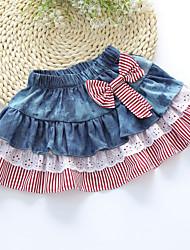 Girl's Sweet Bow Denim Splice Mesh Lace Stripes Skirt