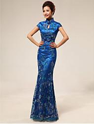 Vestito - Blu oceano Sera Sirena Lupetto A Terra Raso