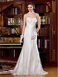 Lan Ting Sheath/Column Wedding Dress - Ivory Sweep/Brush Train Scalloped-Edge Lace
