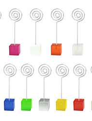 Lot 10pcs Color Cube Stand Loop Wire Place Card Holder Photo Memo Clip