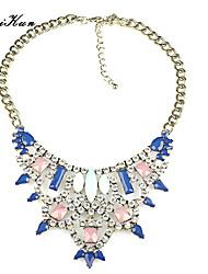Women's Bohemian Faceted Color Gem Rhinestone Tirangle Bid Statement Necklace Blue Pink Necklace