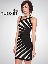 nuoxin® Women's Inclined Shoulder Low Bosom Cultivate One's Morality Stretch The Bandage Sexy Dress