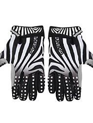 ciclismo bicicleta anti-derrapante padrão de linhas de zebra respirável tamanho luvas de dedo cheio (m / l / xl)