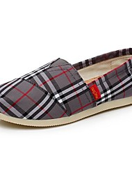Women's Spring / Fall Round Toe Canvas Casual Flat Heel Plaid / Split Joint / Slip-on Gray