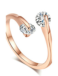 T&C Women's 18k Rose Gold Plated Fashion Design Twin Zircon Cz Diamond Engagement Rings for Woman