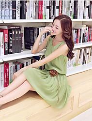 Vestidos ( Algodón Compuesto )- Casual Redondo Sin Mangas para Mujer