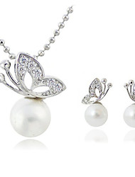Pearl Diamonade Jewelry Suit(Earrings&Necklace)