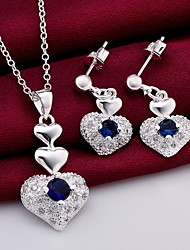 Silver Jewelry,Silver Fashion Jewelry Blue Crystal Heart Necklace&Earrings Jewelry Sets For Women SS772