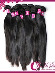 "Unprocessed Brazilian Straight Human Hair Extensions 1B Black Human Hair Weave Mixed Lengths 4pcs/lot 8""-30"""