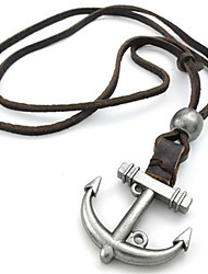Jewellery Mens Womens Vintage Anchor Pendant Necklace Adjustable Genuine Leather Chain, Colour Brown Silver