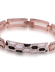 Fashion Generous Women's Fleck Diamante Rose Gold Plated Chain & Link Bracelet(Rose Gold)(1Pc)