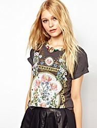 Kortærmet Kvinders Rund hals T-shirt Polyester/Bomuldsblandinger