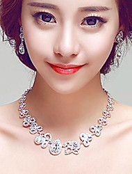Exquisite Rhinestones/Titanium Wedding/Party Necklace with Earings