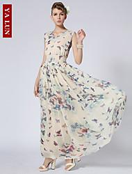 Yalun™ New Fashion Women' Vintage Chiffon Slim V-Neck Print Maxi Dress