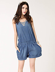 Women's Sleeveless Denim Piece Pants