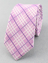 Corbatas ( Gris/Rosa , Poliéster )- A Rayas/Espiga/Modelo/Free Form