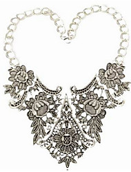 Women's European Bohemia Hand-Made Flower Pattern Sculpt Tassel Droplets Geometry Hollow Out Alloy Necklace