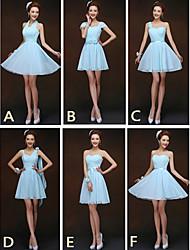 mezclar& vestidos de partido corto / mini vestidos de gasa 6 estilos dama de honor (2840136)