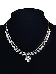 Classic Women Bridal Crystal With Pearl Necklace