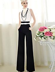 Frauen Reißverschluss lose hohe Taille Flare breite Beinhosen plus Größe schwarz