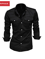 MANWAN WALK®Men's Fashion Double Pocket Pure Color Long Sleeve Shirt