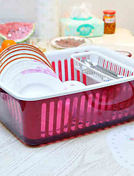 Japanese Large Double Bowl Basket Bowl with Lid Drip Drain Shelving Rack Random Color Plastic 40*31.