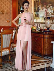 Formal Evening Dress Sheath/Column Bateau Floor-length Chiffon Dress