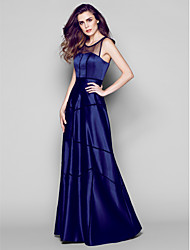 Sheath / Column Scoop Neck Floor Length Satin Formal Evening Dress with Pleats by TS Couture®